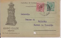 GUIDO ELLER - TRENTO - CARTOLINA COMMERCIALE VIAGGIATA 1920-TIMBRO POSTE TRENTO- - Trento