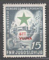 Italy Yugoslavia Trieste Zone B, Esperanto 1953 Mi#103, Sassone#90 Mint Never Hinged - Mint/hinged