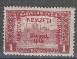 Hungary Szegedin Szeged 1919 Mi#16 Red Instead Of Green Overprint, Mint Hinged - Szeged