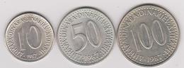 1987 Jugoslavia - 10, 50, 100 Dinara. (circolate) Fronte E Retro - Jugoslavia