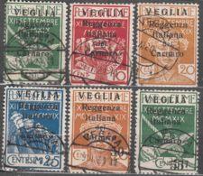 Fiume 1920 Carnaro Islands - Veglia (Krk) Mi#28-33 II Sassone#5-10 Small Letter Overprint, Caratteri Piccoli, Used - 8. Besetzung 1. WK