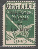 Fiume 1920 Carnaro Islands-Veglia, Krk Mi#28 I Sassone#1 Big Letter Overprint, Caratteri Grande, Mint Hinged With Fault - 8. WW I Occupation