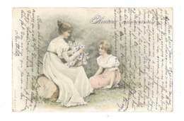 Femme Et Fille Assise Dans L'herbe - Heureux Anniversaire - 5320 - Femmes
