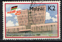 MALAWI - 1989 - RESERVE BANK HEADQUARTERS - NATIONAL INDEPENDENCE - 25TH ANNIV. - USATO - Malawi (1964-...)