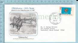 Art Work Envelope Cachet, Enveloppe Artistique, - E. Klauck ,OKLAHOMA Flag, Commemorative, Cover Oklahoma 1977 - Drapeaux