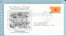 Art Work Envelope Cachet, Enveloppe Artistique, - R. Zallinger ,NEW MEXICO Flag, Commemorative, Cover Santa Fe 1978 - Drapeaux