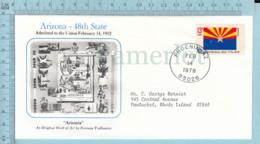 Art Work Envelope Cachet, Enveloppe Artistique, - N. Todhunter , ARIZONA Flag, Commemorative, Cover Phoenix 1978 - Drapeaux