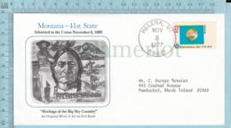 Art Work Envelope Cachet, Enveloppe Artistique, - N. Boyle , MONTANA Flag, Commemorative, Cover Helena 1977 - Drapeaux