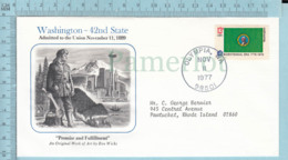 Art Work Envelope Cachet, Enveloppe Artistique, - R. Wicks , WASHINGTON Flag, Commemorative, Cover Olympia 1977 - Drapeaux