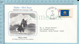 Art Work Envelope Cachet, Enveloppe Artistique, - R. Shehorn , IDAHO Flag, Commemorative, Cover Boise 1977 - Drapeaux