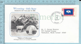 Art Work Envelope Cachet, Enveloppe Artistique, - R. Handville , WIOMING Flag, Commemorative, Cover Cheyenne 1977 - Drapeaux