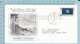 Art Work Envelope Cachet, Enveloppe Artistique, - W. Hortens , SOUTH DAKOTA Flag, Commemorative, Cover Pierre 1977 - Drapeaux