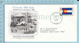 Art Work Envelope Cachet, Enveloppe Artistique, - R. Lambdin , COLORADO Flag, Commemorative, Cover Denver 1977 - Drapeaux