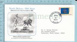 Art Work Envelope Cachet, Enveloppe Artistique, - L. Buckley , NORTH DAKOTA Flag, Commemorative, Cover  Bismarck 1977 - Drapeaux