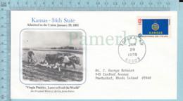 Art Work Envelope Cachet, Enveloppe Artistique, - J. Falter , KANSAS Flag, Commemorative, Cover  Topeka 1978 - Drapeaux