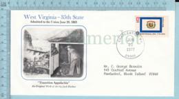 Art Work Envelope Cachet, Enveloppe Artistique, - J. Ruther , WEST VIRGINIA Flag, Commemorative, Cover  Charleston 1977 - Drapeaux