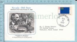 Art Work Envelope Cachet, Enveloppe Artistique, -J. Larrecq , NEVADA Flag, Commemorative, Cover  Carson City 1977 - Drapeaux