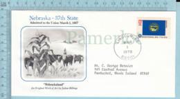 Art Work Envelope Cachet, Enveloppe Artistique, - J. Billings , NEBRASKA Flag, Commemorative, Cover  Lincoln 1978 - Drapeaux