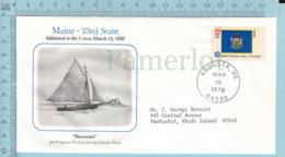 Art Work Envelope Cachet, Enveloppe Artistique, -C. Reid , MAINE Flag, Commemorative, Cover  Augusta 1978 - Drapeaux