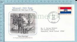 Art Work Envelope Cachet, Enveloppe Artistique, - R. Gjerston , MISSOURI Flag, Commemorative, Cover Jefferson City 1977 - Drapeaux