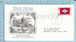 Art Work Envelope Cachet, Enveloppe Artistique, - L. Fellman ,ARKANSAS Flag, Commemorative, Cover Little Rook 1977 - Drapeaux