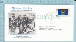 Art Work Envelope Cachet, Enveloppe Artistique, - J. Barkley , MICHIGAN Flag, Commemorative, Cover Lansing 1978 - Drapeaux
