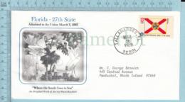 Art Work Envelope Cachet, Enveloppe Artistique, - W. Brackett , FLORIDA Flag, Commemorative, Cover Tallahassee 1978 - Drapeaux