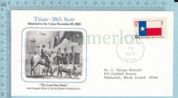 Art Work Envelope Cachet, Enveloppe Artistique, - R. Conningham , TEXAS Flag, Commemorative, Cover Austin 1977 - Drapeaux