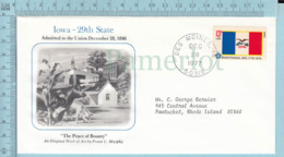 Art Work Envelope Cachet, Enveloppe Artistique, - C. Murphy , IOWA Flag, Commemorative, Cover Des Moines 1977 - Drapeaux