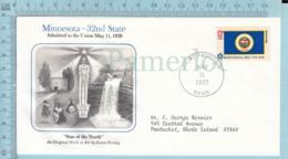 Art Work Envelope Cachet, Enveloppe Artistique, - S. Noring , MINNESOTA Flag, Commemorative, Cover Saint Paul 1977 - Drapeaux