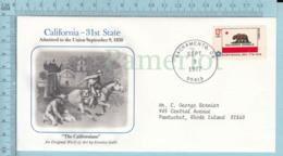 Art Work Envelope Cachet, Enveloppe Artistique, - S. Galli , CALIFORNIA  Flag, Commemorative, Cover Sacramento 1977 - Drapeaux