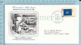Art Work Envelope Cachet, Enveloppe Artistique, - H. Brooks , WISCONSIN  Flag, Commemorative, Cover Madison 1977 - Drapeaux