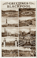 Greetings From BLACKPOOL. 10 View Multiview. Posted 1959. RP. (D Constance) [P0078/1D] - Blackpool