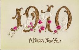 10 - Année Date Millesime - 1910 - 3 Bébés Dans Chiffres Dorés Et Roses, Gaufré - Nouvel An