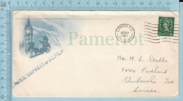 Illustrated Envelope, Postmark: Per S.S. 'Empress Of Scotland', Cover London F.S. 1955 -> To Sherbrooke Quebec - Etats-Unis