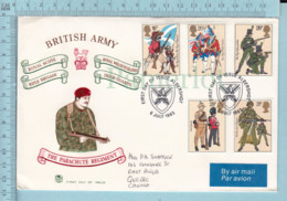 Illustrated Envelope, England FDC 1983 - The Parachute Regiment - British Army - Military -> To East Angus Quebec Canada - Militaria