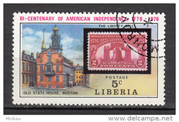 Liberia, Cloche, Bell, Timbre Sur Timbre, Stamp On Stamp, Boston, Indépendance USA Independence - Unabhängigkeit USA