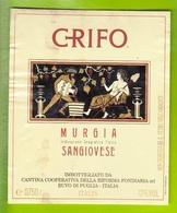 Wine Label, Etichetta Vino- Grifo, Sangiovese. Cantina Riforma Fondiaria Di Ruvo Di Puglia. Italy - Art