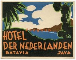 Etiqueta Label Hotel Der Nederlanden Batavia Java Indonesia - Hotel Labels