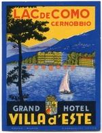 Etiqueta Label Grand Hotel Villa D'Este Lac De Como Cernobbio Italia - Hotel Labels