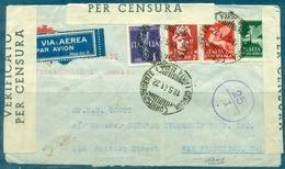 GUERRE 39 / 45  ITALIE Lettre Du 18.5.1941 Pour SAN FRANCISCO Avec Censure - Marcophilie (Lettres)