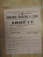 1933 AFFICHE ARRETE ECOULEMENT OBLIGATOIRE A L'EGOUT / MARSEILLE RUE COUGIT / AUTOGRAPHE MAIRE GEORGES RIBOT    E1 - Afiches