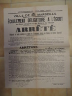 1936 AFFICHE ARRETE ECOULEMENT OBLIGATOiRE A L'EGOUT  / MARSEILLE / CF LISTE DES RUES    E1 - Affiches