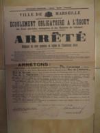 1937 AFFICHE ARRETE ECOULEMENT OBLIGATOIRE A L'EGOUT / MARSEILLE / CF LISTE RUES    E1 - Afiches