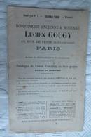 Catalogue Livres Anciens Lucien Gougy Paris Rue De La Seine 1890 - Pubblicitari