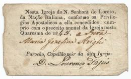 Portugal 1845. Igreja Nesta Quaresma... - Historical Documents
