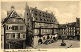 Hanau, Altstädter Rathaus Mit Brunnen Und Möbelgeschäft, Ca. 30er Jahre - Hanau
