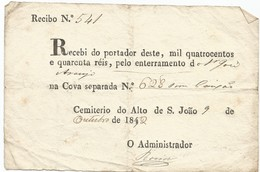 Portugal 1852. Enterramento... - Historical Documents