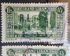 NO11 - Lebanon 1927 Fiscal Revenue Stamp - 1925 Postage 1p25 Overprinted R.L. Droit Fiscal Ps.1 Rare Black Var + Blue - Lebanon