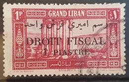 NO11 #8 - Lebanon GRAND LIBAN 1925 1p Postage Issue Overprinted 1 PIASTRE DROIT FISCAL - Rare Revenue Stamp - Lebanon